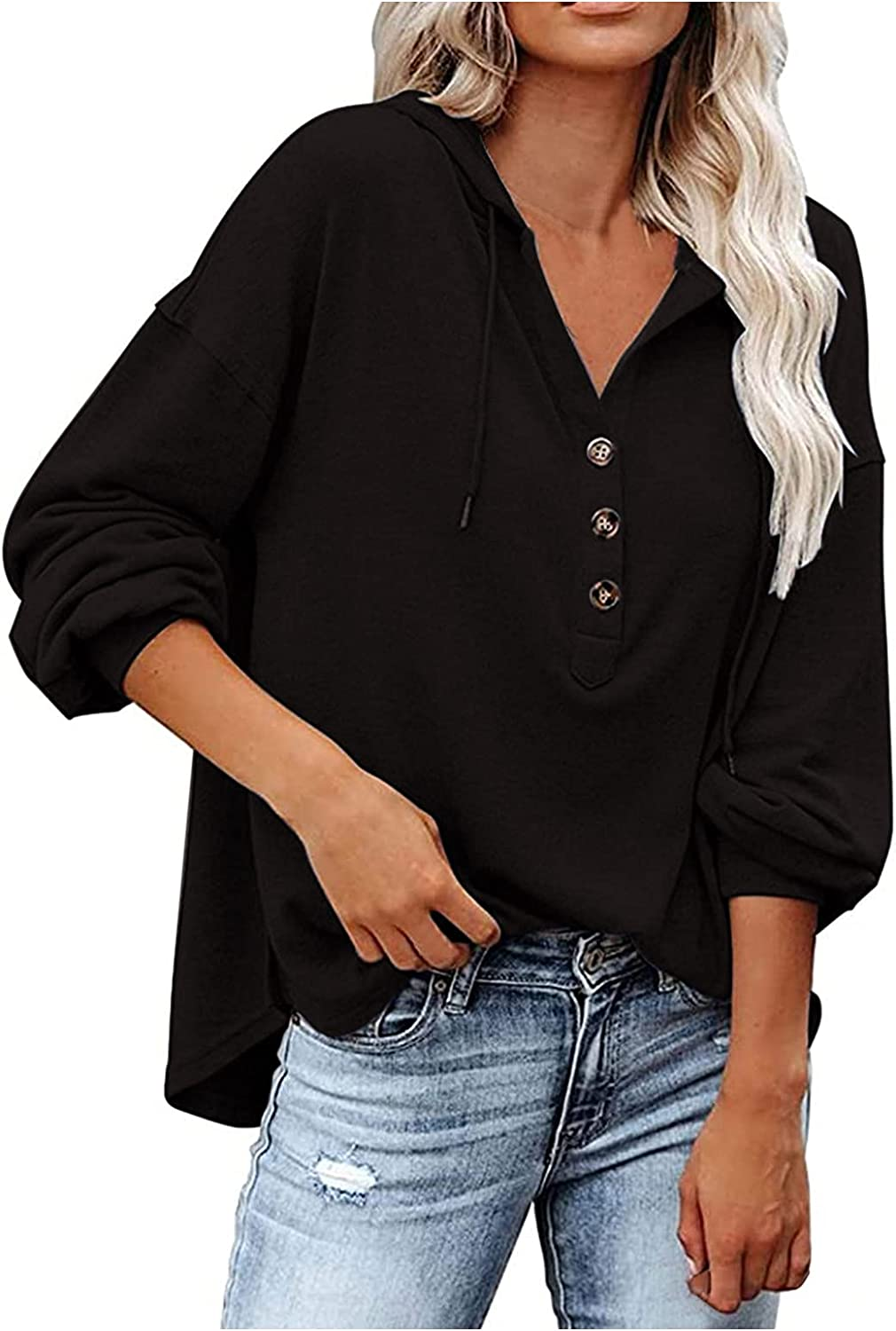 Womens Max 43% OFF V-Neck Button T Shirts Roll Ca Tops Up Sleeve Branded goods Long Hooded