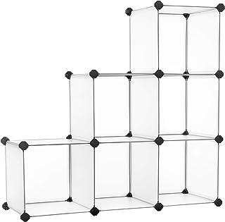 SONGMICS Organisateur de Rangement en Plastique à 6 Cubes, Séparateur d'armoire, Bibliothèque, Étagère à Chaussures, pour ...