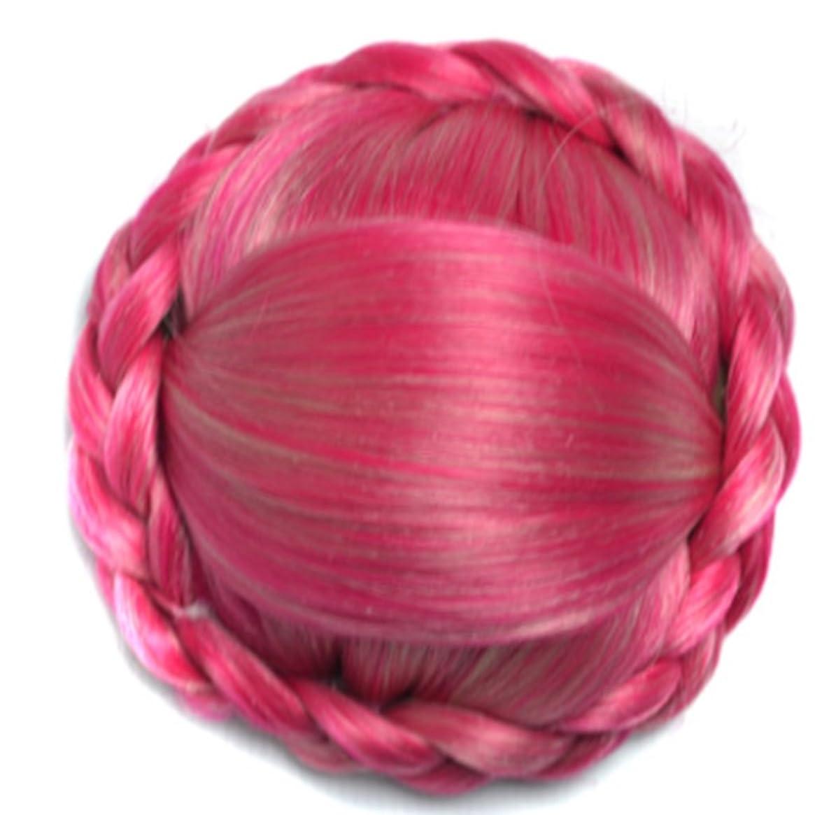 部分織るおじいちゃんKoloeplf 化学繊維で作られた合成のかつら、ヴィンテージの編組で包まれた拡張赤毛は軽いことができます (Color : レッド)