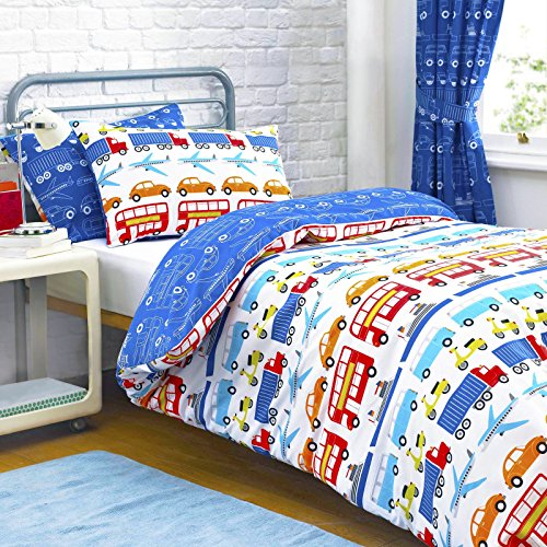 Textile Warehouse Cars Transport Vehicles Lorries Truck Planes Trains Boys Kids Children's Duvet Cover Bedding Set Single