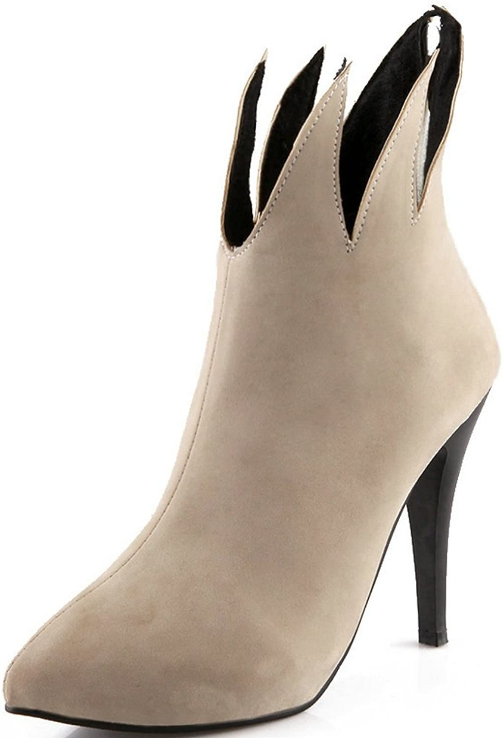 AIWEIYi Women's Flock Skin Pointed Toe Cut-Outs Spring Fall High Heels Ankle Boots Black