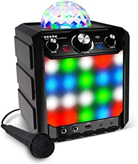 Ion Party Rocker Express - Bluetooth Karaoke Discosoundmaschine/ Musikbox/ Partylautsprecher mit LED Lichter, Mikrofon, Integriertem Echo-Effekt und USB-Anschluss zum Aufladen, Schwarz
