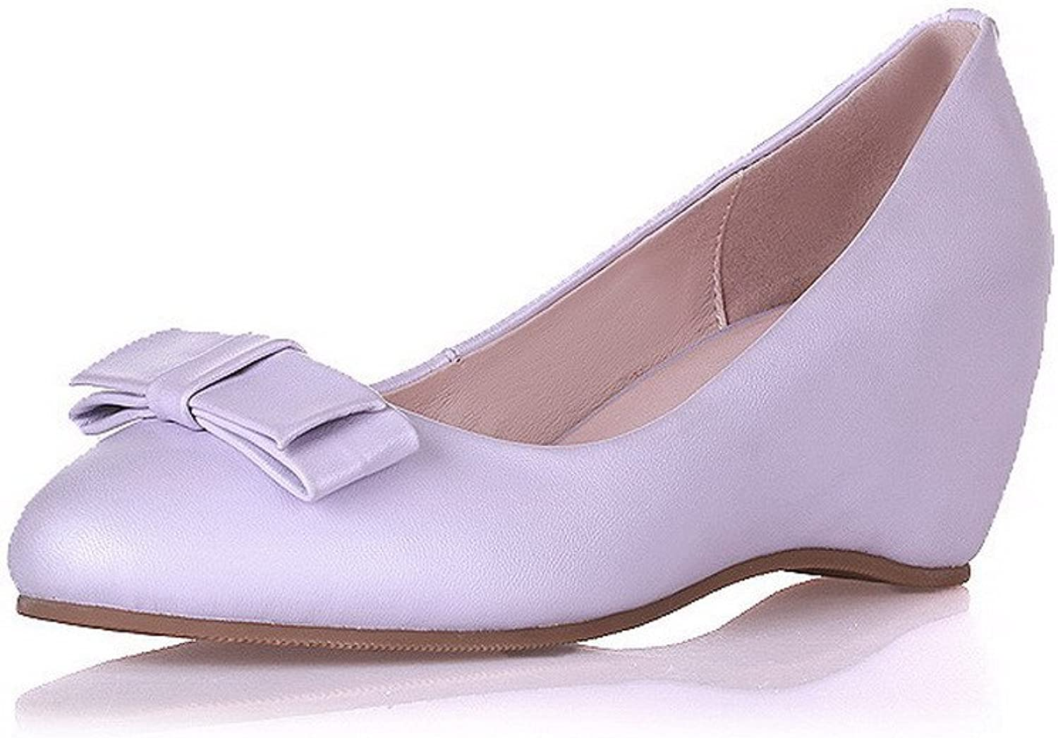 AllhqFashion Women's Closed Round Toe Cow Leather Kitten Heels Solid Pumps with Heighten Inside
