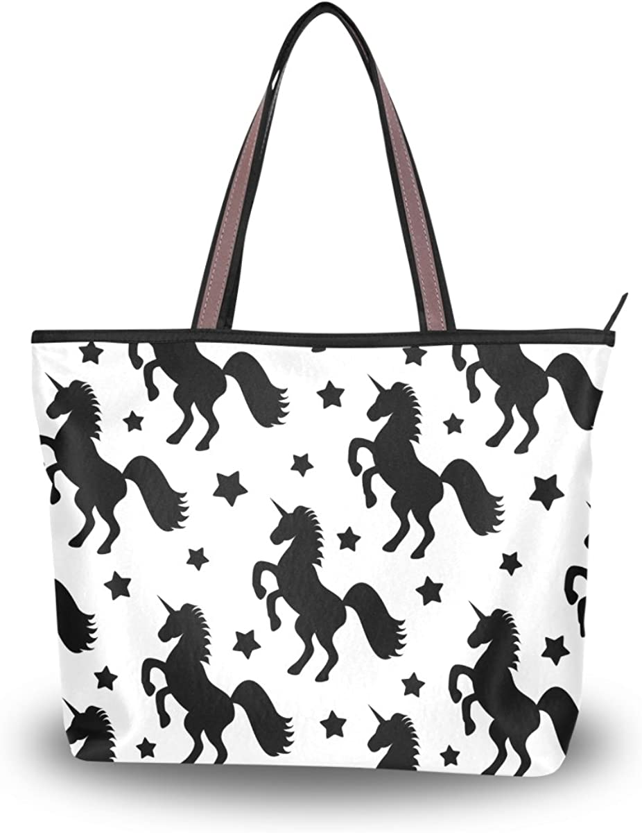 JSTEL Women Large Tote Top Handle Shoulder Bags Black Stars And Unicorns Patern Ladies Handbag