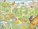 Larsen FH37 Flores y pájaros de Colores en un Hermoso jardín, Puzzle de Marco con 60 Piezas