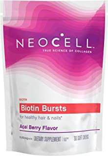 NeoCell Biotin Bursts, Supports Healthy Hair & Nails, Acai Berry Flavor, 30 Chews (Package May Vary)