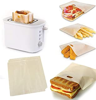DDLmax 3pcs Non Stick Toaster Bags, Reusable and Heat Resistant Easy to Clean,Perfect for Sandwiches Pastries Pizza Slices Chicken Nuggets Fish Vegetables (1618CM)