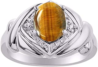 RYLOS XOXO Ring Hugs & Kisses Gemstone & Genuine Diamonds in Sterling Silver .925-9X7MM Color Stone * Great Ring for Middl...