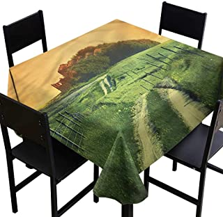 home1love Tuscan Anti-Fading Tablecloths Peaceful Pienza Rural Nature Dinner Picnic Table Cloth Home Decoration 54 x 54 Inch