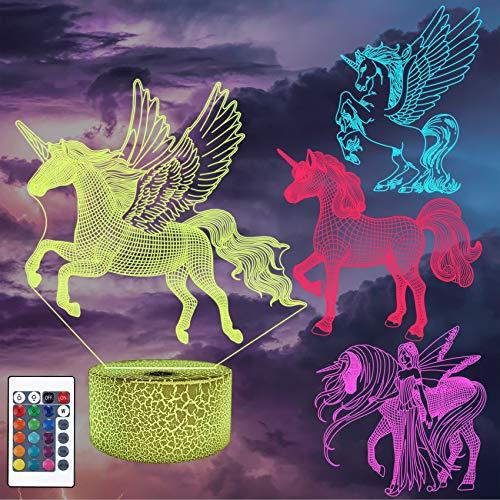 Luz de noche LED de ilusión óptica 3D, cuatro tipos de unicornios, lámpara de noche de ilusiones ópticas CooPark 16 colores Lámpara de cabecera táctil Mesa Art Deco de dormitorio Luz de noche infantil