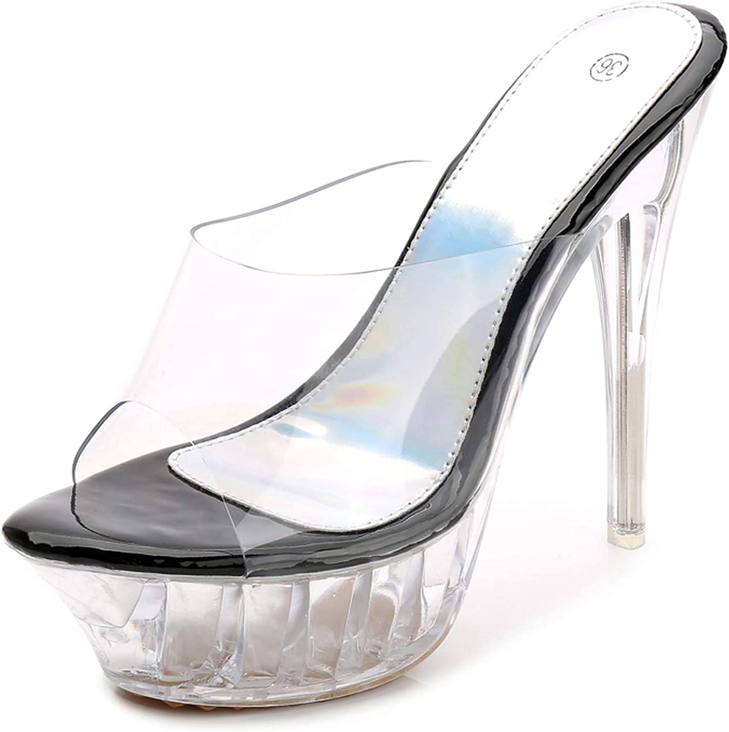 Perilla fire High Heels Womens Sandals Transparent Crystal Female Thin Heel Model T Stage Sexy Lady Heeled shoes