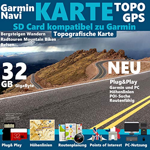 Zypern Karte Outdoor Topo microSD. Topografische GPS Freizeitkarte für Fahrrad Wandern Touren Trekking Geocaching & Outdoor. passend zu GARMIN Navigationsgeräte, PC & MAC