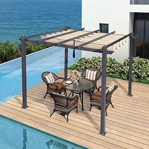 PURPLE LEAF Pérgola de aluminio de 300 cm x 300 cm, con techo corredero, protección UV, para terraza, césped, jardín, cubierta, color beige