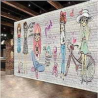 壁の壁紙3Dファッショナブルな美容グラフィティ背景壁壁画ショッピングモールレストラン装飾壁紙* 350cmx245cm不織布プレミアムアートプリントフリース壁壁画装飾ポスター写真