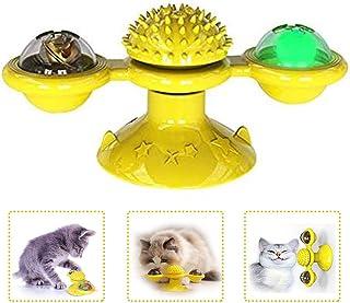 JRXyDfxn Cat Toys Mulino Gatto Giocattolo con LED Sfera E Catnip Sfera della Tazza di Aspirazione Portatile Giradischi Windmill Scratch Spazzola per Capelli per I Gatti Kitty Blu