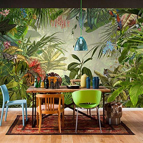 XLXBH 3D wandschilderij zelf-klevend behang Zuidoost-Aziatische stijl tropisch regenwoud fotobehang restaurant club KTV bar modern creatieve natuur wandschilderij kinderkamer kantoor eetkamer woonkamer decoratie 300x210 cm (BxH) 6 Streifen - selbstklebend