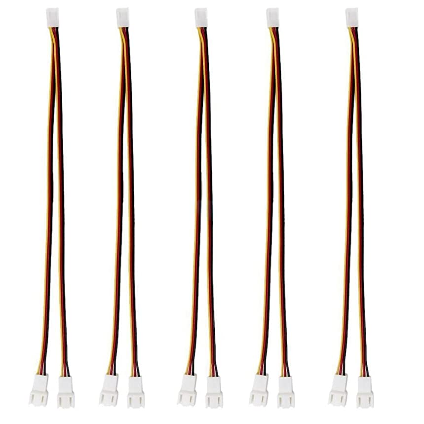 Alloet 5Pcs 12V 3 Pin Female to 2/3 Pin Male Fan Extension Power Cable for PC