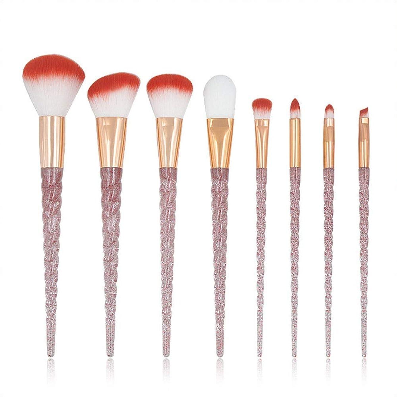 増幅するアミューズメントおっと化粧ブラシ化粧ブラシセット、ユニコーン透明ハンドル化粧ブラシセットレッドドットダイヤモンドファンデーションブラシ(8PCS)
