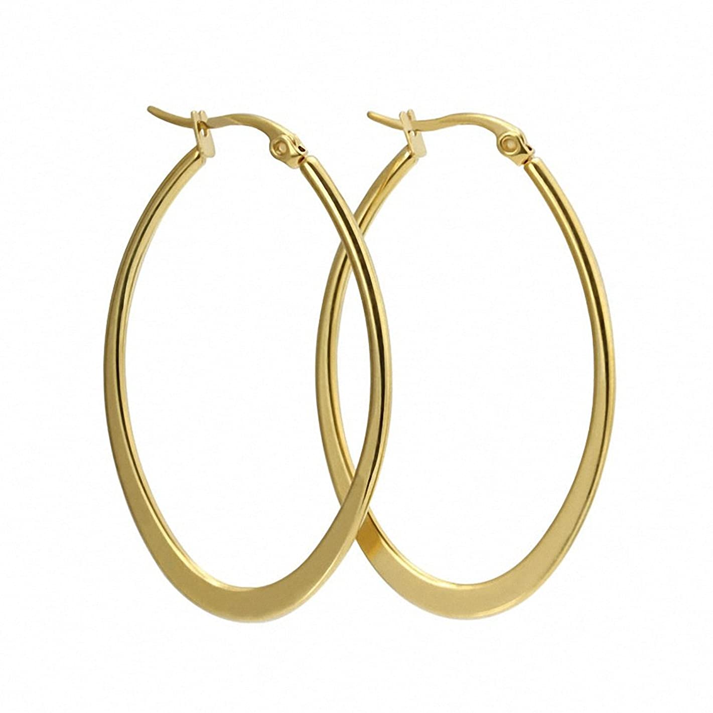 Sobly Womens Stainless Steel Top Click Closure Large Rounded Hoops Huggie Earrings