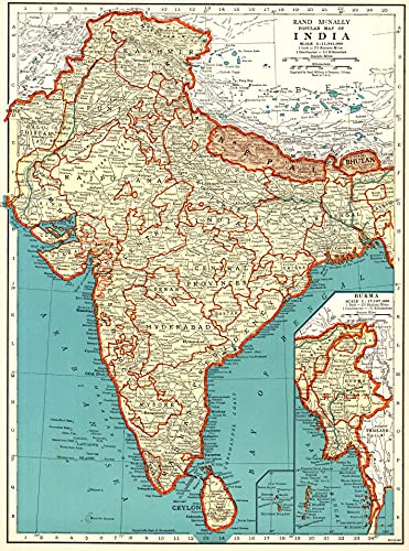 1939 Antique India Map Original Vintage Atlas Map of India Not a Reprint Home Office Decor Gallery Wall Art #1154