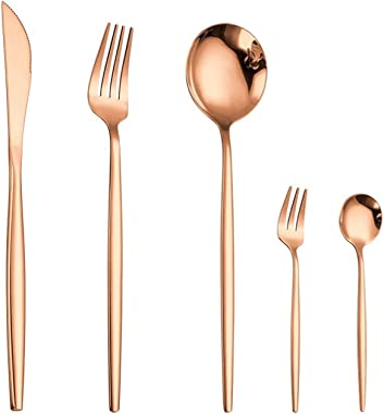 ZWMKND 5 piezas de vajilla de oro rosa, vajilla de acero inoxidable, oro rosa