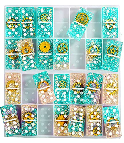 Domino Resin Silicone Mold, 28 Cavities Domino Molds for Resin Casting DIY Dominoes Games Gifts and Party Games