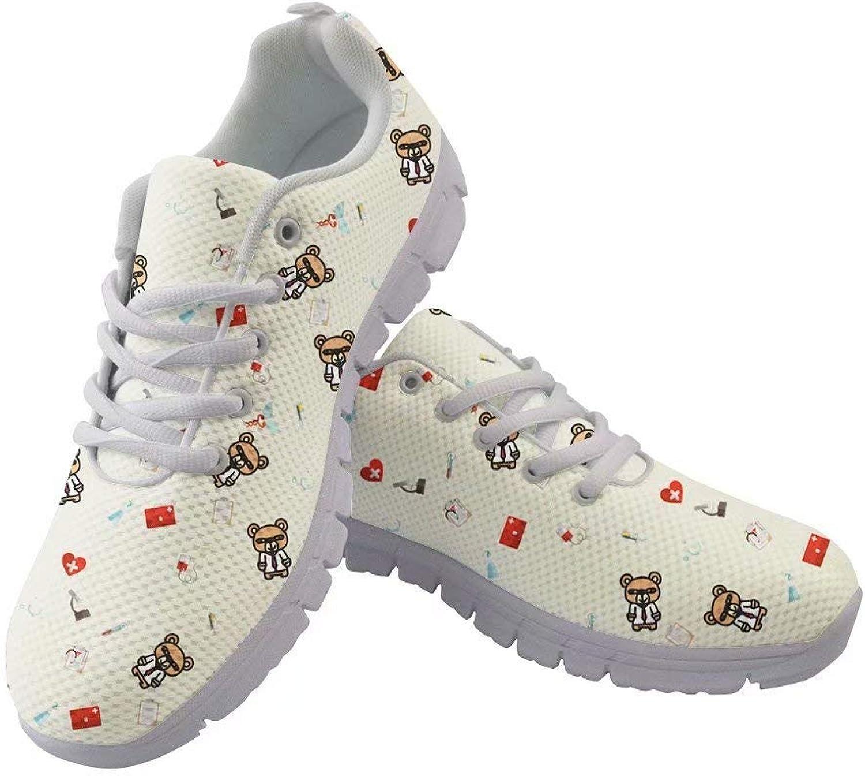 Spring Warner Medicine Cartoon Bear Cute Pattern Sneakers Dentist Bear Printing Sport shoes for Women ERU36-41
