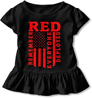 Remember Everyone Deployed Red Friday T Shirts Kids Girls Short Sleeve Ruffles Shirt Tee for 2-6T