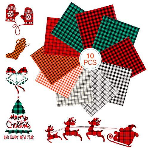 "Casiwaft Christmas Halloween 10 pcs Buffalo Plaid Heat Transfer Vinyl,HTV Vinyl Sheets for DIY Iron on Fabrics T-Shirt,12"" x 10"" for Cricut"