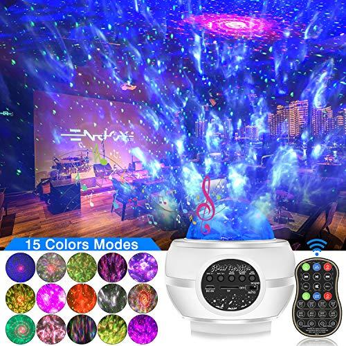 Sternenhimmel Projektor Galaxy Light, 15 Farben 4 Beleuchtungsmodi Sternenlicht Lampe Rotierende Nachtlichter für Weihnachten Halloween Geschenke mit Bluetooth-Lautsprecher Fernbedienung Timer