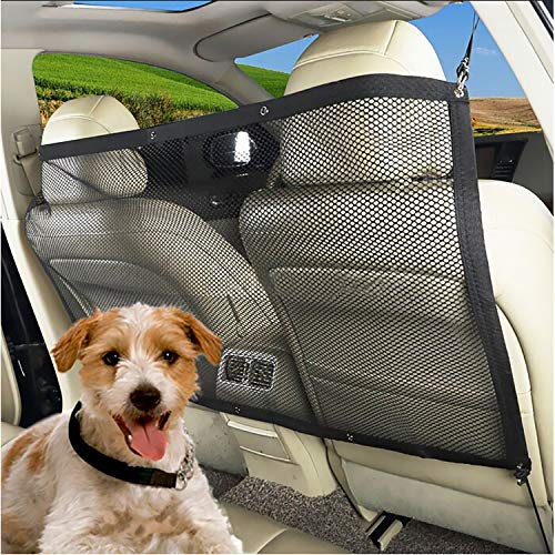 Carperipher Dog Car Barrier for SUV, 45.28 x 24.40 Inches Adjustable Vehicle Pet Barrier with Flexible Bungee Cords and Hooks, Universal Fit Sturdy Mesh Front Seat Barrier for Pet Dog Kid