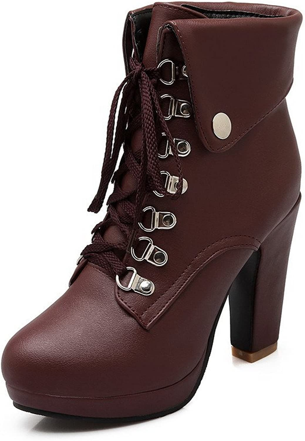 WeenFashion Women's Pu High Heels Round Closed Toe Solid Lace Up Boots