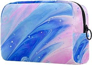 Watercolor Pink Blue Makeup Bag Toiletry Bag for Women Skincare Cosmetic Handy Pouch Zipper Handbag