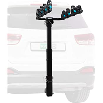 """Hitch Mounted 4 - Bike Rack Carrier, Sturdy Bicycle Swing Rack w/Tension Bar Included – Fits 2"""" Receiver – Foldable Design for Extra Convenience – Durable Powder-Coated Steel – Easy Assembly"""