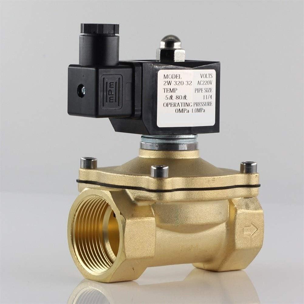 TFGUOqun Duradero Válvula de Agua Normalmente Cerrada la válvula de solenoide, IP65 Totalmente Cerrado Bobina Electroválvula eléctrica (Specification : 1 1/4