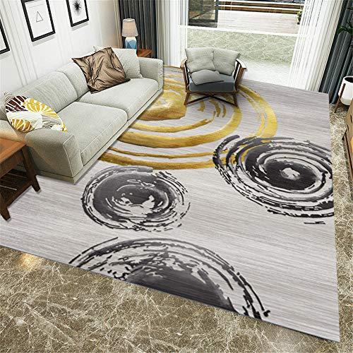 RUGMYW Respirable alfombras de Entrada Patrón geométrico Amarillo Negro Gris Alfombra habitación Matrimonio 120X160cm