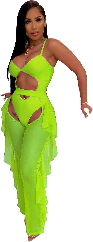 ECHOINE Women Sexy Sheer Mesh 2 Piece Outfits Ruffle Long Pants Beach Swimsuit Bikini Cover up S XXL