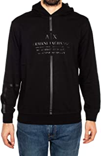 A X Armani Exchange Men's Logo Tape Pullover Hoodie, Black, Small