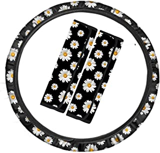Cozeyat Daisy Flower Steering Wheel Cover with Autism Seat Belt Covers Safety Automotive Car Accessories Universal Fits Wi...
