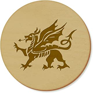 Azeeda 6 x 'Welsh Dragon' 95mm Round Wooden Coasters (CR00028588)