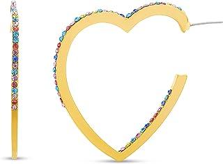 Steve Madden Rhinestone Heart Inside Out Hoop Earrings for Women