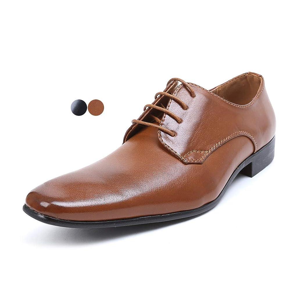 広く腸写真[エムエムワン] ビジネスシューズ メンズ 紳士靴 プレーントゥ レースアップ PU革靴