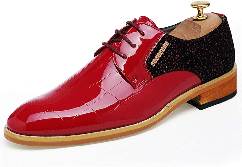 DINGGUANGHE-schuhe Lackleder Herren formelle Business Flache Freizeitschuhe Spitzenkleid mit Nhten Leder Oxford Schuhe Abendgarderobe Dress Schuhe (Farbe   Rot, Gre   42 EU)