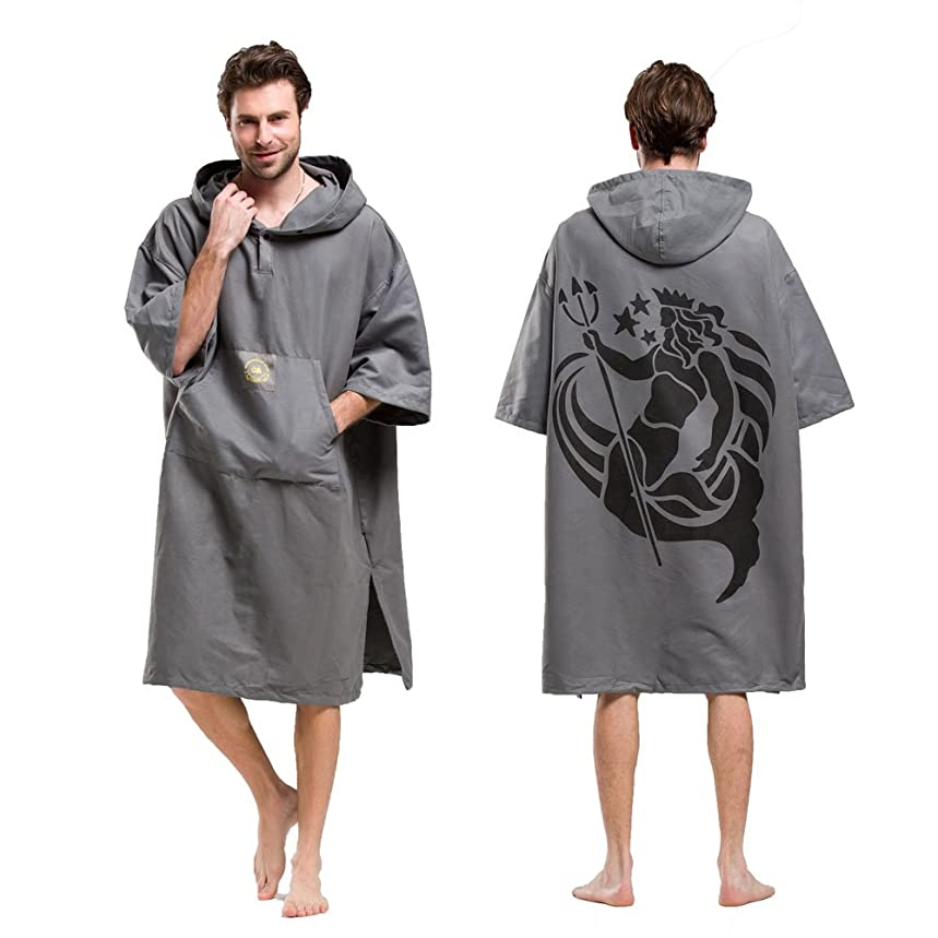 ペルー偶然の守銭奴(Grey) - Hiturbo Beach Surfing Swimming Robe,Wetsuit Changing Towel Poncho with Hood,Unisex,One Size Fit All