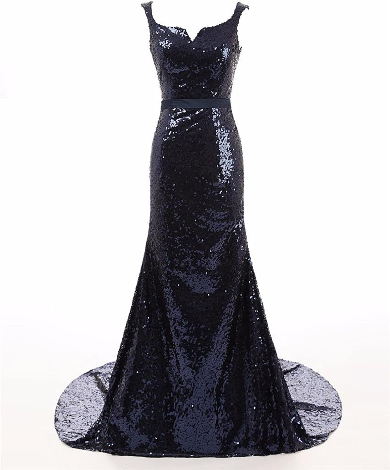 Changjie Women's Sequin Formal Evening Gown Party Dresses With Sweep Train CJ113