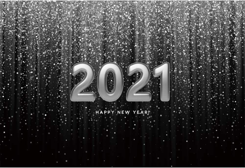 Baocicco 12x10ft Happy New Year 2021 Backdrop Gradient Ramp Silver Grey Curtain Drapes Tassel White 2021 Photography Background Wallpaper for New Year Celebration Beginning of New Year Photo Prop