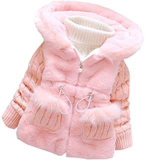 Jojobaby Baby Girls Infant Winter Knited Fur Outerwear Coats Snowsuit Clothing Jackets
