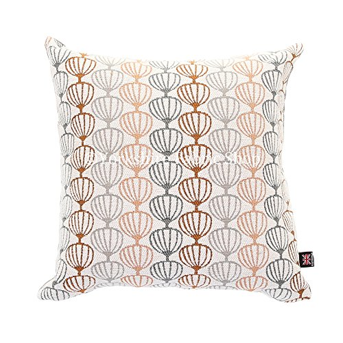 "Yorkshire Fabric Shop Fabricado en Reino Unido Suave Tejido Textura Naranja Gris Globo geométrico–Tela patrón cojín–Tamaño Mediano–43cm x 43cm–17""x 17Pulgadas"