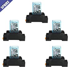 Ximimark 5Sets DC 12V Coil Power Relay LY2NJ HH62P JQX-13F DPDT 8 Pin 10A With Socket Base