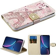 Case+Tempered_Glass+Stylus, PU Leather Fits Apple iPhone XR / 9 Diamond Wallet Paris Eiffel Tower Diamante with Diamante Belt Purse Clutch Pouch